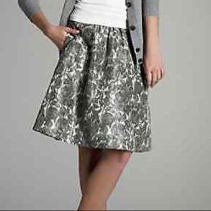 J. Crew silk floral print a line skirt gray flower